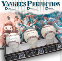 YANKEES PERFECTION... Don Larsen, David Wells, David Cone Baseballs